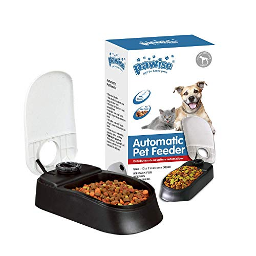 PAWISE Automatic Pet Feeder Food Dispenser with Timer for Cats and Dogs (1 Meal)