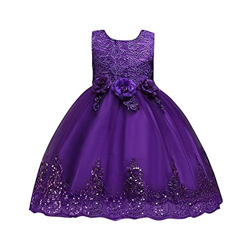 Funyplus Verkleiden Sie sich als Prinzessin - Baby Mädchen Ärmellose Schmetterling Spitze Blumenkleid Netz Gaze Tutu Kleid Hochzeit Blumenkleid, 6 Monate - 11 Jahre alt