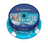 Verbatim CD-R AZO - 700 MB, 52-fache Brenngeschwindigkeit mit Langer Lebensdauer, Bedruckbar, 25er Pack Spindel