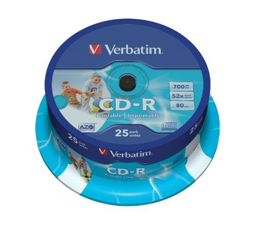 Verbatim Vb-crd19s2PA–CD-RW Vierge (CD-R, 700MB, 25PC (s), 120mm, 2.1cm, 52x)