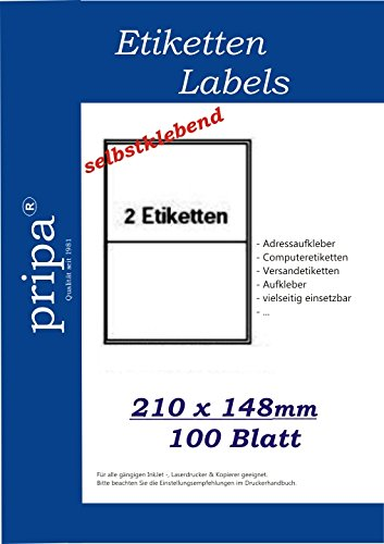 pripa Etikett 210 x 148 mm - 100 Blatt DIN A4 Selbstklebende Etiketten - 200 Stück (100)