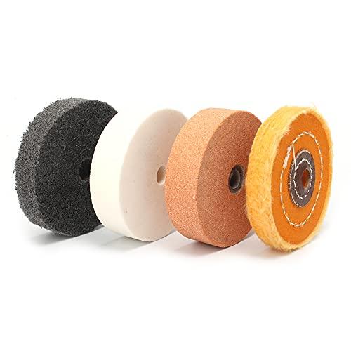 Calidad superior Rueda de pulido de fibra de 3'pulir almohadilla de pulidor de pulido para herramientas de reparacin de herramientas de desbarbado de plstico metlico ngulo de arbolillo para elimi