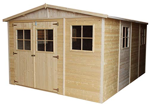 TIMBELA Wooden Garden Shed - Outdoor Storage with Windows - W11ft x L14ft x H7ft Timber Shiplap Shed - Garden Workshop - Bike, Tool Shed Storage M336