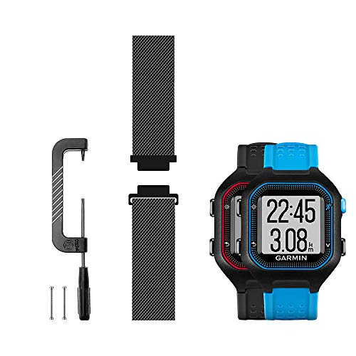 Woven Mesh Strap Compatible with Garmin forerunner 25 Band Replacement smartwatch Bands, Works with Large Version - Black (L)