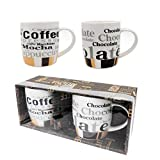 Coffee mug- Set of 2 Coffee mugs (10 Ounce) Best quality Ceramic cup set with distinctive assorted Coffee vintage phrases, in exclusive Boxed gift set