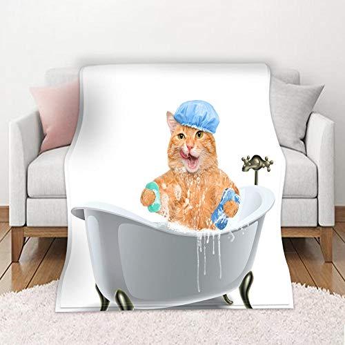 YMXMYJ Manta de Franela con Pompones Gato de la bañera Larga Peluda Mantas de Forro Polar cálida y Suave, Esponjosa y GruesaManta para Colchas Sofá Viaje 130x150 cm