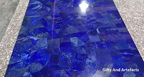 Geschenken en voorwerpen vierkante vorm marmer conferentie tafel top Pietra Dura kunst met Lapis Lazuli edelstenen bij willekeurig werk kan worden gebruikt als tuintafel, hal tafel, 36 inch