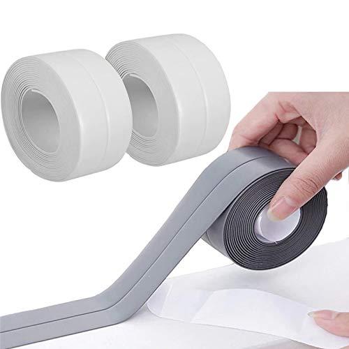 Wasserdicht Dichtungsband, 3 Stücke Wasserdichtes Dichtungsband zum Duschen, Selbstklebendes Kantenschutz Leiste für Küche Badezimmer Badewanne Toilette Wandboden (Weiß+Grau)