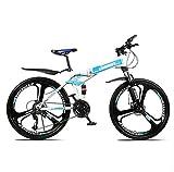 SHIN Bicicleta Btt 26' Mountain Bike Plegable Unisex Adulto Aluminio Urban Bici Ligera Estudiante Folding City Bike,sillin Confort Ajustables,Capacidad 120kg,Doble Freno Disco/Blue / 21 spee