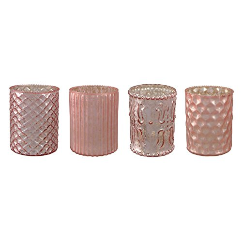 Unbekannt Glas- TEELICHT mit DEKOR ca 10 cm. 4 STÜCK. Teelichtglas teilw. verspiegelt. ROSA -10