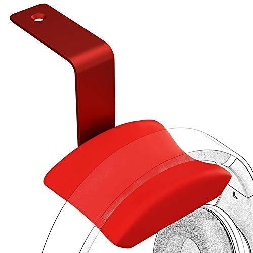 Soporte de suspensión para soporte de gancho para auriculares con auriculares para juegos de PC, soporte de aluminio para auriculares para escritorio, rojo