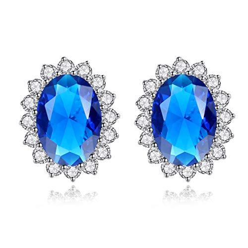 VIKI LYNN Plata fina 925 plata de ley Blue Sapphire Cubic Zirconia