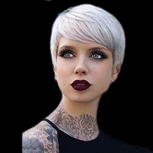 Perruques synthétiques naturelles courtes de cheveux synthétiques courts en argent synthétiseur de cheveux en fibre résistant à la chaleur pour les femmes noires