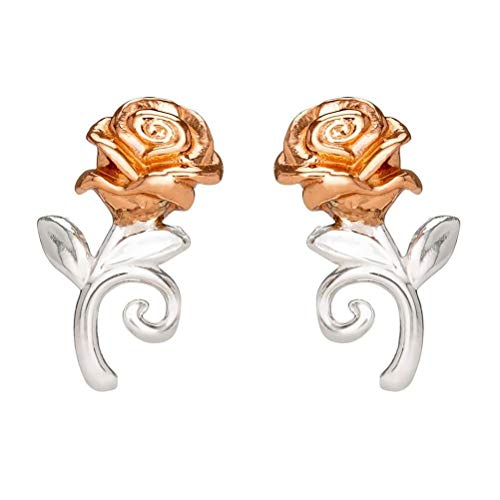 Retro Styler Disney La Bella y la Bestia Pendientes de Plata esterlina Rose