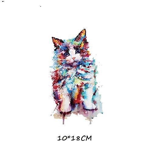 5×Parches de transferencia térmica Adecuado para chaquetas, camisetas, jeans, sombreros, ropa, estilo de gato de color de dibujos animados
