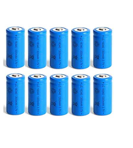 1300mAh Rechargeable 3.7V Li-ion 16340 Batteries CR123A Battery Flashlight Travel Wall Charger for 16340 CR123A-Blue