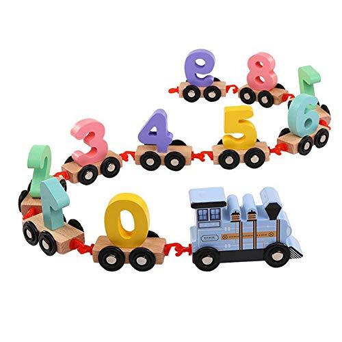 L'éducation précoce Puzzle en Bois assemblé Transport Intelligent bâtiment Puzzle Jouet Voiture Voiture Enfants en Bois numérique Petit Train Jouet,Blue