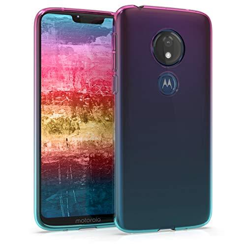 kwmobile Hülle kompatibel mit Motorola Moto G7 Play (EU-Version) - Handyhülle - Handy Hülle Zwei Farben Pink Blau Transparent
