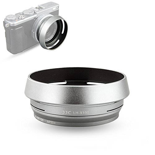 JJC LH-X100 Lens Hood Sun Shade with 49mm Filter Adapter Ring for Fuji Fujifilm X100V X100F X100T X100S X100 Digital Camera, Metal Material and Silver Color