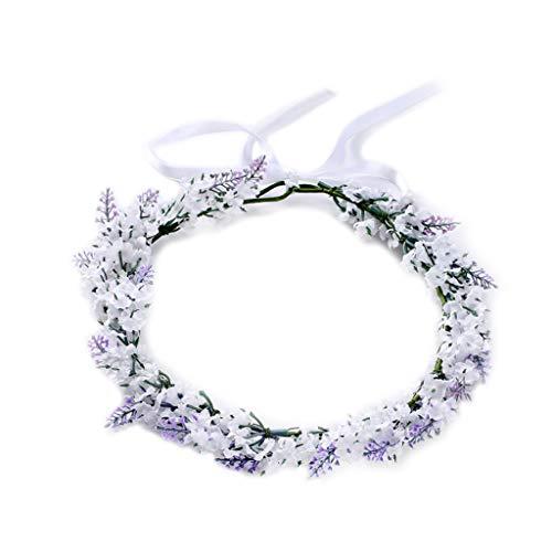 SKYVII Diadema de flores de imitación lavanda floral banda para el pelo guirnalda tiara corona mujeres joyería tocado decoración moda Dreamlike para boda fiesta baile compromiso