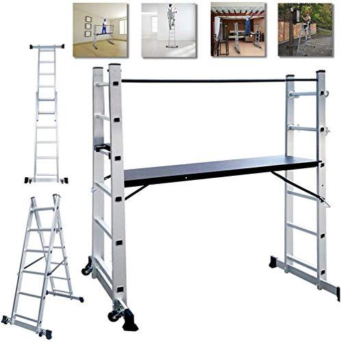 NAIZY - Estructura de aluminio, andamio, escalera de trabajo, escalera plegable, plataforma de trabajo, soporta hasta 150 kg, revestimiento antideslizante