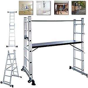NAIZY – Estructura de aluminio, andamio, escalera de trabajo, escalera plegable, plataforma de trabajo, soporta hasta 150 kg, revestimiento antideslizante