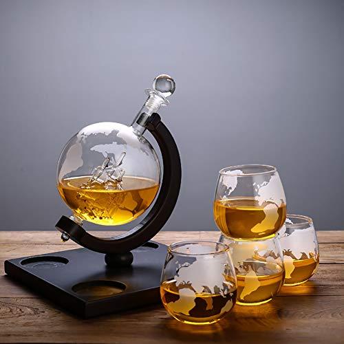 Light Elegante whiskykaraf met whiskyglazen, set van handgemaakt, met luchtdichte sluiting, glazen karaf met whiskyglas voor whiskykenner met wereldbol, 800 ml