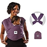 Baby K'tan Original Baby Wrap Carrier, Infant and Child Sling - Simple Pre-Wrapped Holder for Babywearing - No Tying or Rings - Carry Newborn up to 35 lbs, Eggplant, Women 2-4 (X-Small), Men up to 36