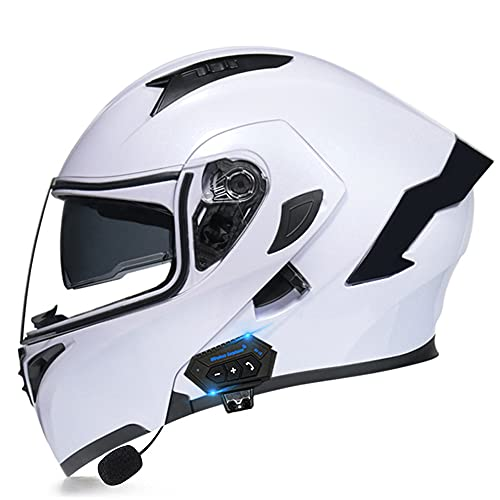 Casco Moto Modular Bluetooth ECE Homologado, Casco De Moto Integral Scooter para Mujer Hombre Bicicleta con Doble Visera,A,M(57~58CM)