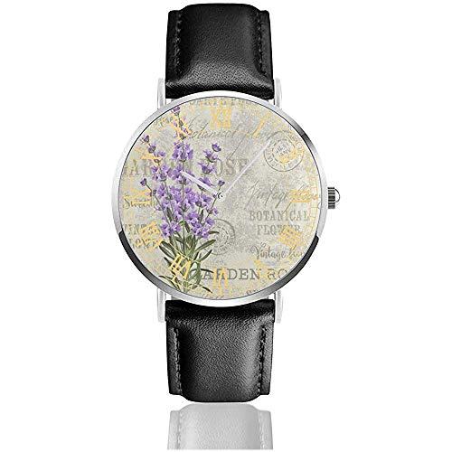 Lavender Flower Vintage Herrenuhren Quarz Analoguhr Designer Classic Kleid Armbanduhr