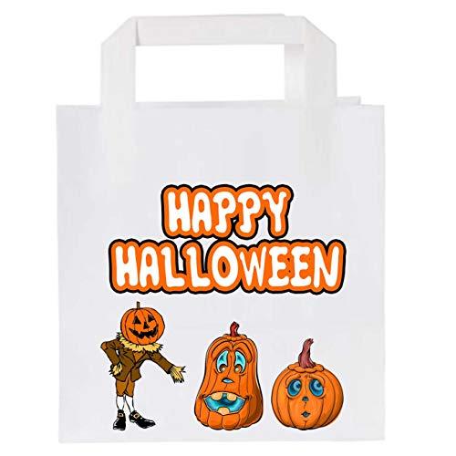 Bolsas de papel para fiesta de Halloween (10 unidades), diseo de calabaza