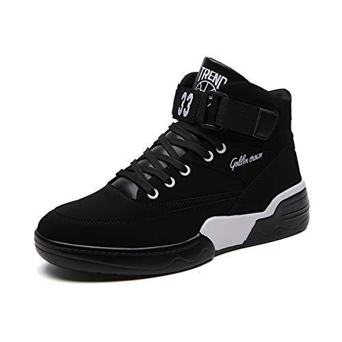 OROSUA Männer Basketball Trainer Patchwork Leder Atmungsaktives Futter Schnürriemen High Top Anti-Rutsch-Plattform Schuhe Walking Running Sportschuhe