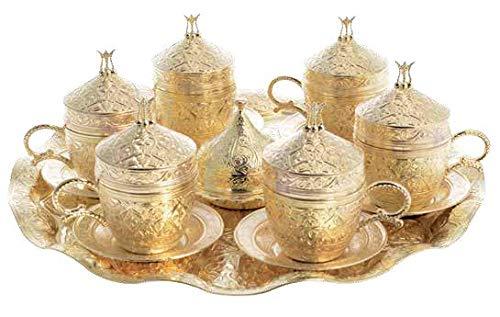 Trmade Traditionelles dekoriertes altes osmanisches türkisches griechisches arabisches Kaffeeservice mit Untertasse, 6er-Set Weavy tray gold