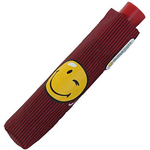Smiley World - Mini Automatik Schirm - streif red