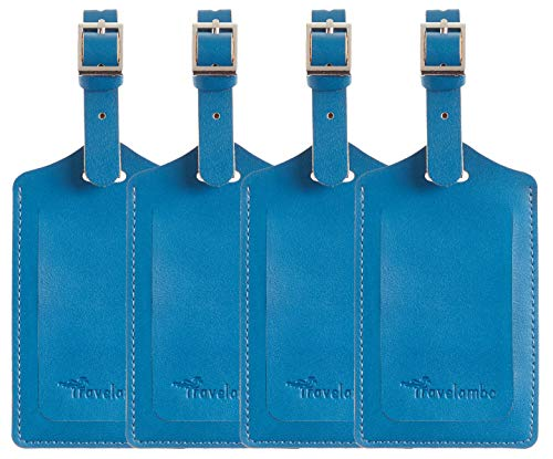4 Pack Leather Luggage Travel Bag Tags by Travelambo Blue