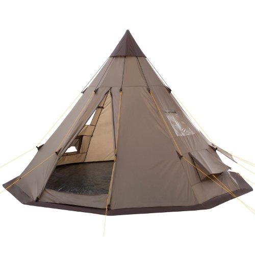 CampFeuer Tipi Zelt Spirit für 4 Personen | Firstzelt | 3.000 mm Wassersäule | Indianerzelt für Camping, Wandern | Pyramidenzelt (braun)