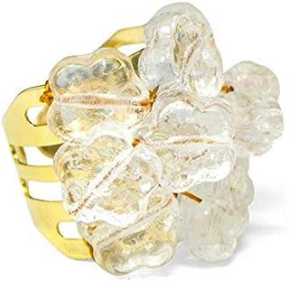 Anel Dourado Margarida Cristal
