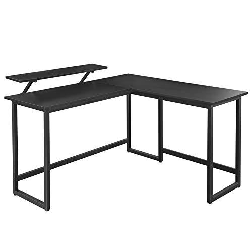 Escritorio en forma de L VASAGLE, mesa de esquina con soporte para monitor, para estudiar, jugar, trabajar, ahorrar espacio, pies ajustables, estructura de metal, fácil montaje, negro LWD56BK