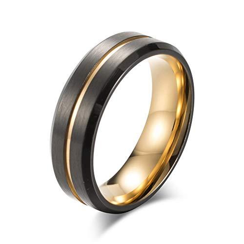 YAZILIND Vintage Titanio Acero Anillo de Banda Black Gold Rings Regalo de la joyería de los Hombres del día del Padre (Tamaño:24,5)