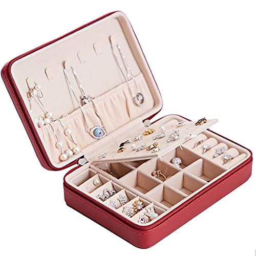 DMDMJY Pequeña caja de joyería, organizador de joyas con dos capas organizador portátil para anillos, pendientes, collares, pulseras, la mejor opción de regalo para niñas y mujeres, rojo