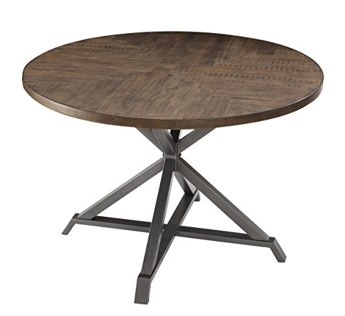"""Homelegance Fideo 45"""" Round Industrial Style Dining Table, Pine"""
