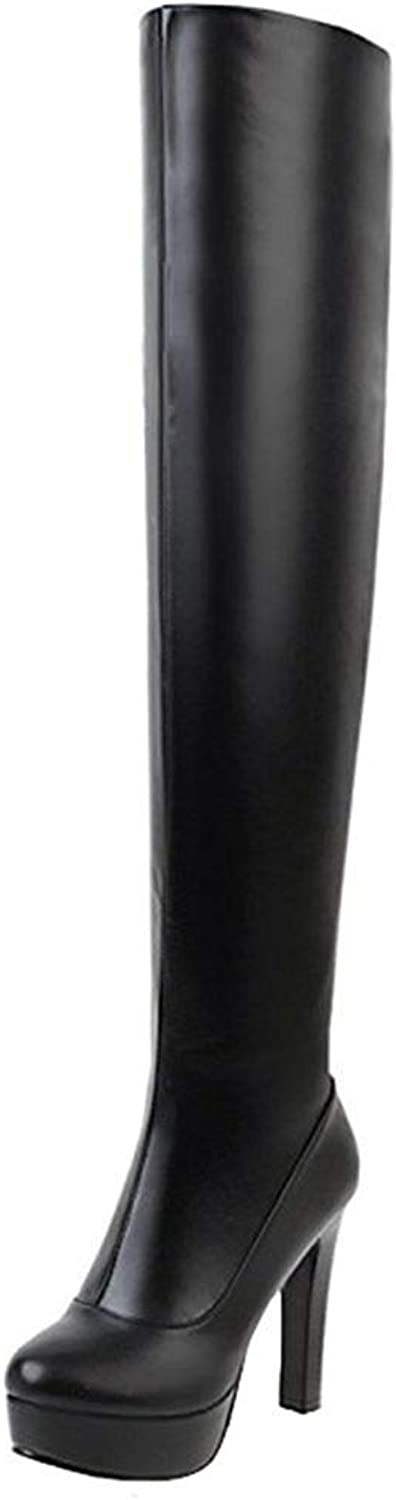 Ghssheh Women's Sexy Chunky High Heel Platform Round Toe Pull On Skinny Thigh High Long Boots with Side Zipper White 7 M US