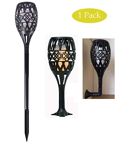 Solar Torch Lights with Flickering Flame, Waterproof Outdoor Stair Wall Lights Walkway Night Light for Garden Deck Porch Vintage Hollow Simple Design Black 1 Pack Rechargeable Solar Lights