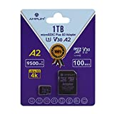 Amplim Micro SD Card 1TB, New 2021 MicroSD Memory Plus Adapter, Extreme High Speed 170MB/S A2 MicroSDXC U3 Class 10 V30 UHS-I for Nintendo-Switch, GoPro Hero, Surface, Phone, Camera Cam, Tablet