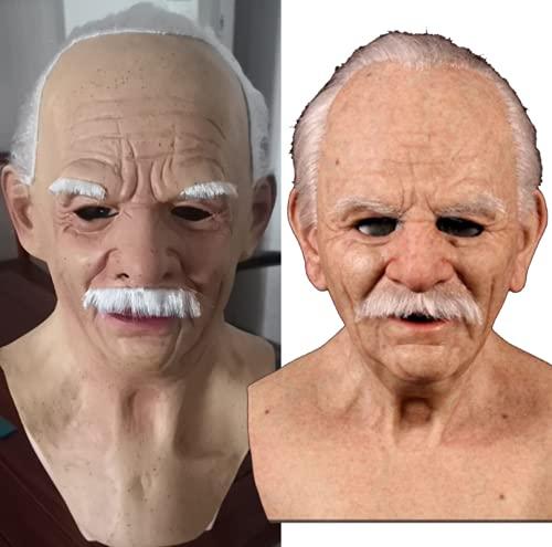 beibeiwang Látex Sonriente Viejo Hombre Arrugado Mascarilla Tocados 3D Silicona Sombreros Halloween Cosplay Masquerade Propr