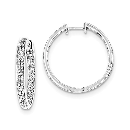 925 Sterling Silver Diamond Round Hinged Hoop Earrings Ear Hoops Set Fine Jewellery For Women Gifts For Her