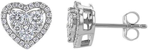 Olivia Paris 14K White Gold 3 4 Carat ctw Diamond Halo Heart Cluster Stud Earrings H I SI1 SI2 product image