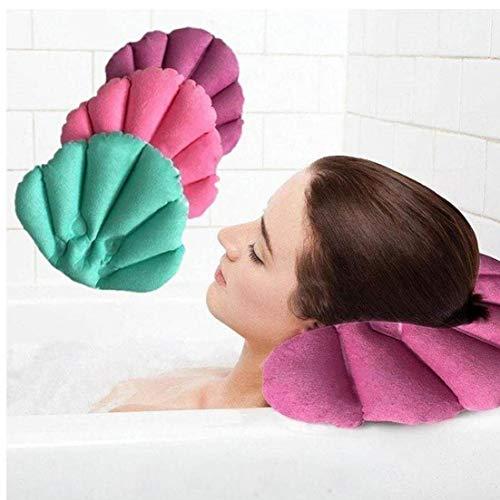 1 x Bain Oreiller avec Ventouse Gonflable Tissu éponge en Forme de Ventilateur de Soutien du Cou Doux Oreiller Spa Cou Baignoire Coussin Couleur aléatoire