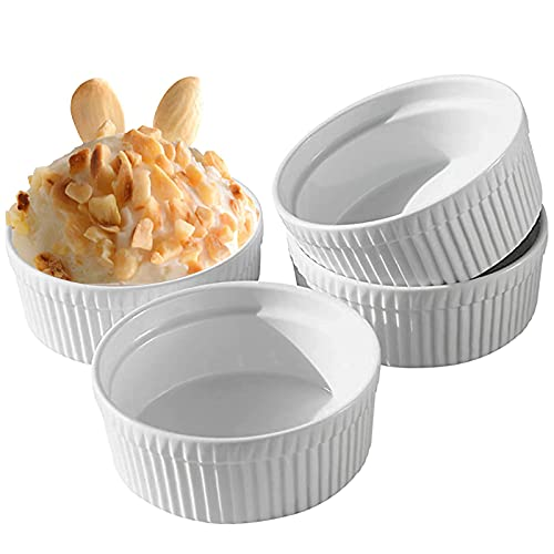 Cinf White 10 oz Set of 4 Souffle Dishes Ramekins Oven Safe Bowls Creme Brulee Set Sauce Cups for Baking Cooking Cream Dessert Microwave Safe Porcelain Ramakien Pudding Cups