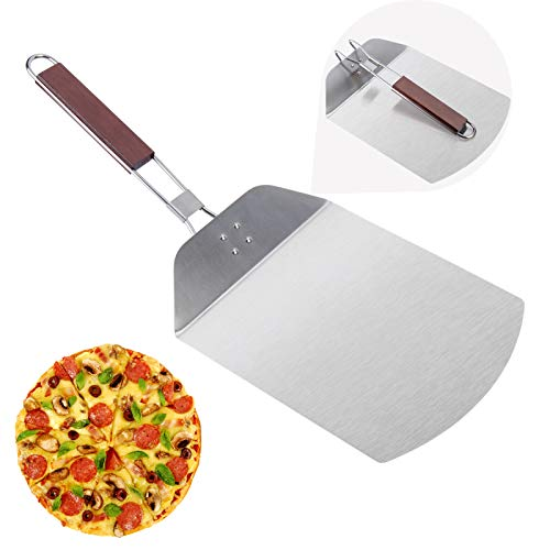 Pizza Peel McoMce Stainless Steel Metal Pizza Paddle with Foldable Long Wooden Handle Pizza Spatula Outdoor Pizza Oven Accessories Pizza Stone for Baking Homemade 10 Inches Pizza and Bread